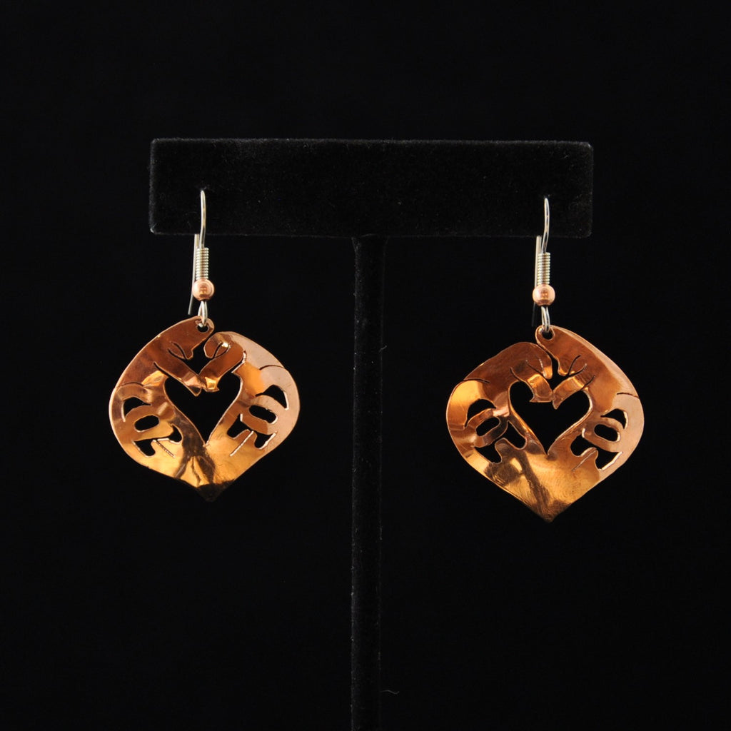 Copper Lovebird (Heart Style) Earrings by Leo Marks