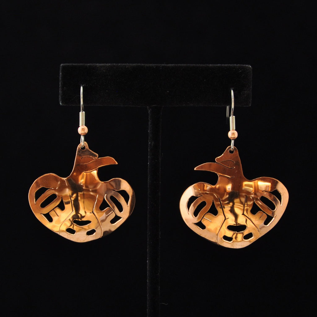 Copper Spreadwing Raven Earrings by Leo Marks