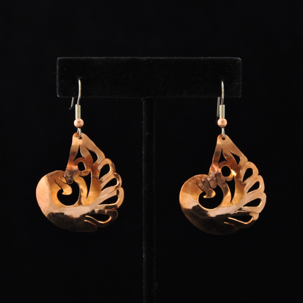 Copper Thunderbird Earrings by Leo Marks