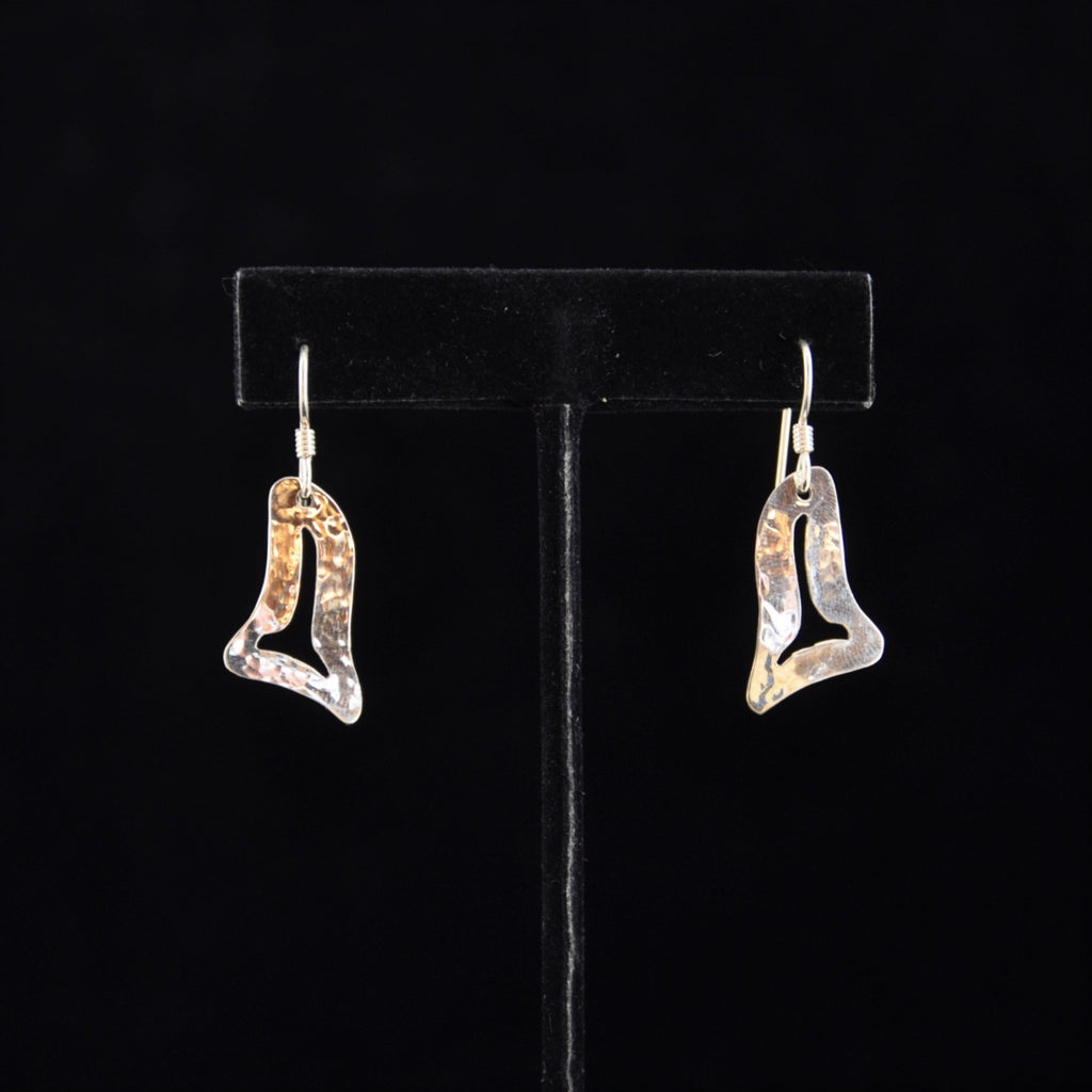 Silver Killerwhale Fin Small Earrings.