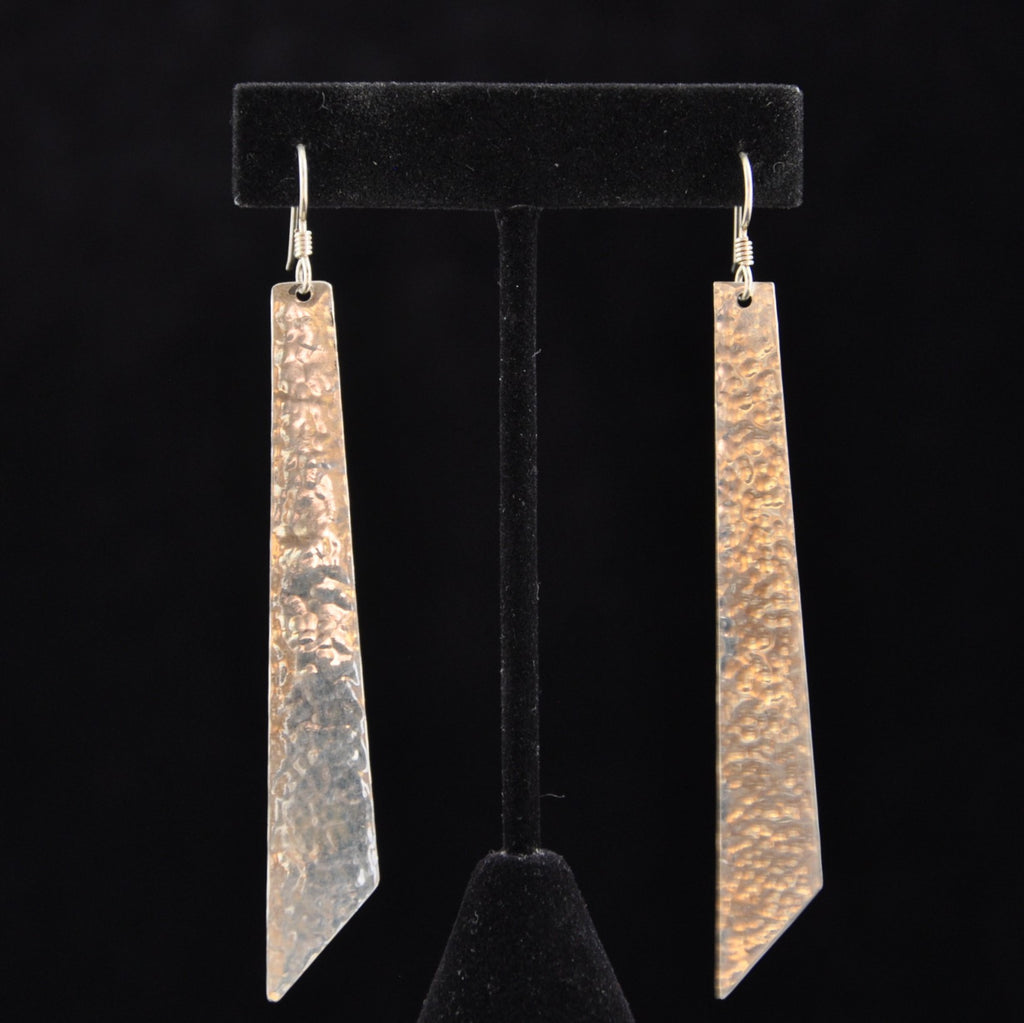 Silver Long Angle Earrings - Naakée Designs