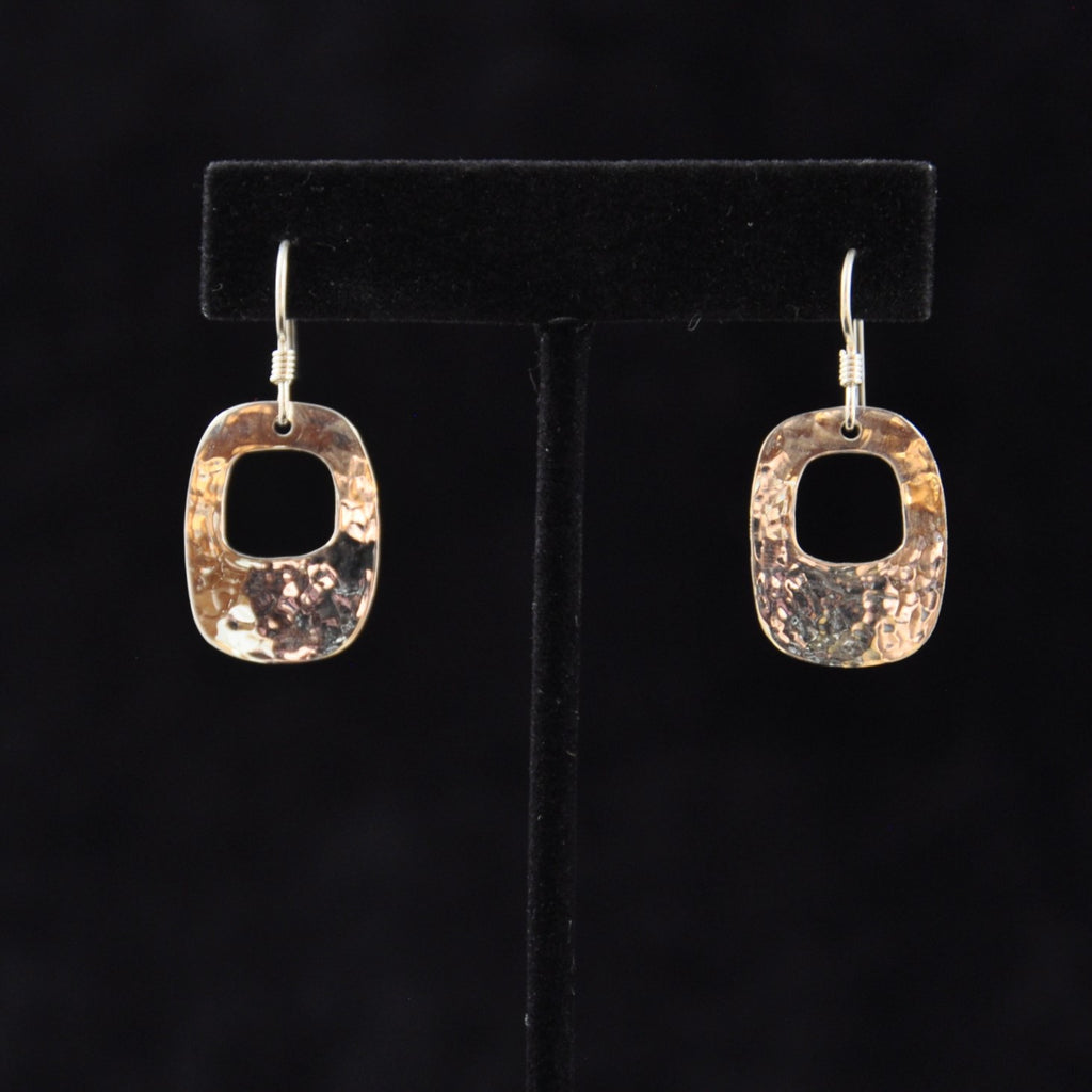 Silver Rounded Rectangle w Cut Out Earrings - Naakée Designs