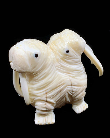 Ivory- D. Pungowiyi, Double-Headed Walrus, Baleen Inlay eyes