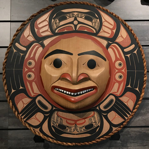 Mask- D. Boxley: Eagle & Young Chief, Circle Panel w Woven Cedar Rope