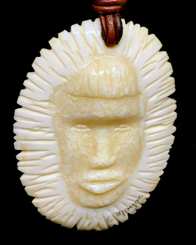 Pendant- E. Mayac; Ivory, Double Sided Face w Ruff