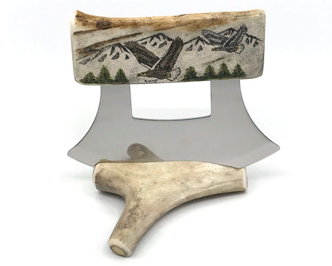 Ulu- Antler, Scrimshaw, Eagles & Mountain