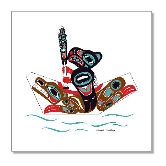 """Eagle & Bear Canoe"" Art Print by Israel Shotridge"