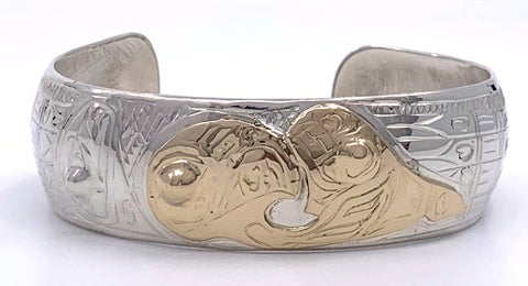 Bracelet- G. Chilton: Silver with Gold Overlay, Spreadwing Eagle Killerwhale, 3/4""