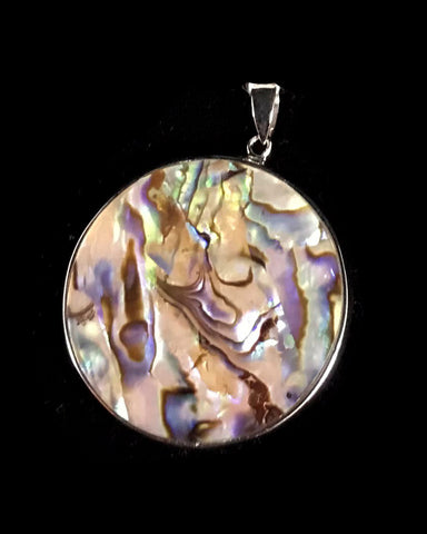 Pendant- G Pauls, Sterling Silver, Abalone, & Mother Of Pearl, Disc