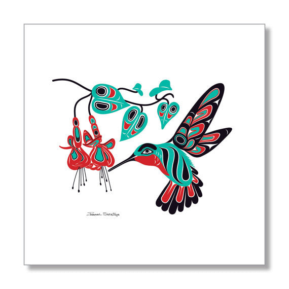 """Hummingbird & Fuchsia"" Art Print by Israel Shotridge"