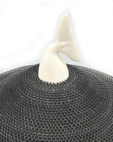 Baleen Basket- H. Hank, Ivory Whale Tail, 12""
