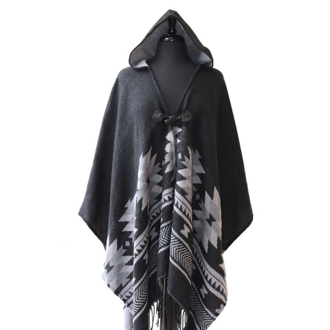 Hooded Fashion Wrap- L. Stogan: Visions of Our Ancestors, Gray