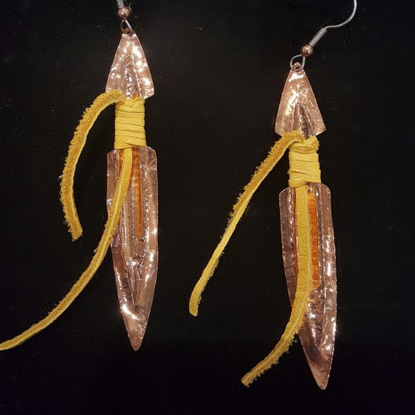 Earrings - B Schleifman, Copper Daggers with Leather Wraps