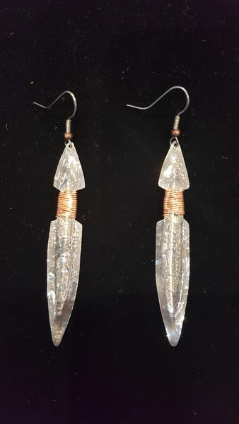 Earrings - B Schleifman, Silver Daggers with Copper Wiring