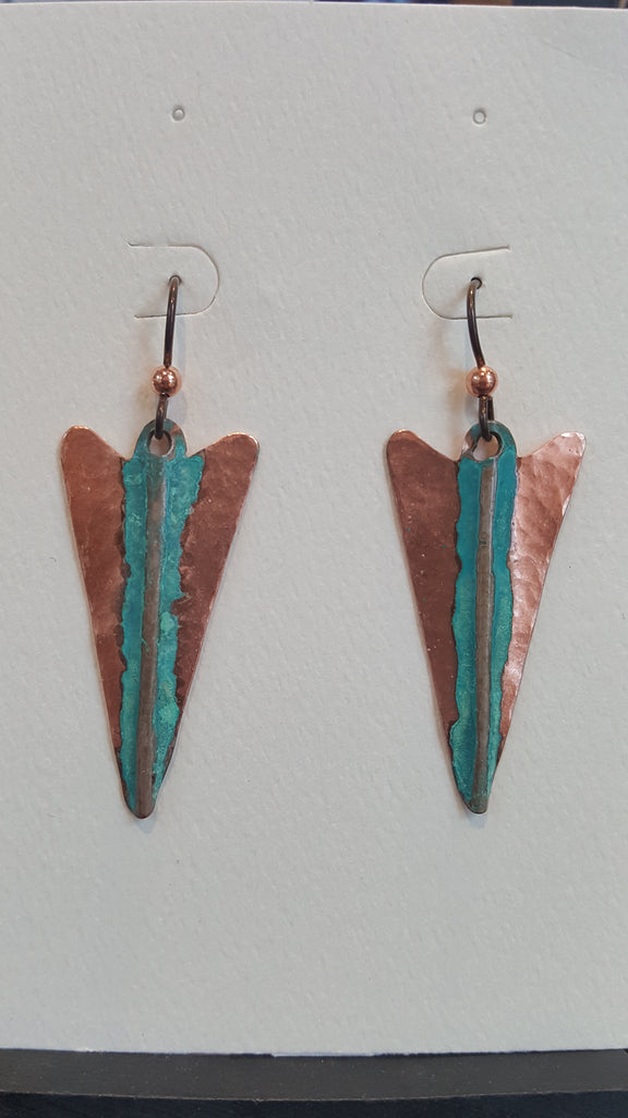 Earrings - Copper w Patina Arrowhead - Naakée Designs,
