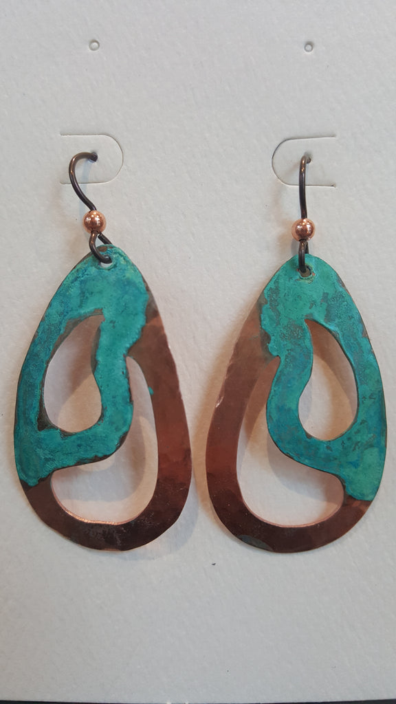Earrings - Copper w Patina Rain - Naakée Designs