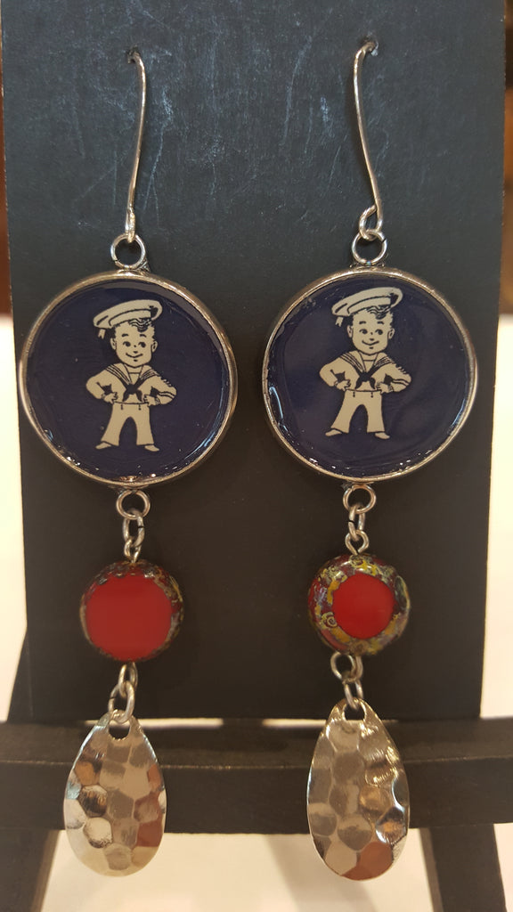 Earrings-A Schaeffer, Sailor Boy Center with hanging beads
