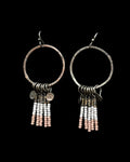 Earrings- J. Gibbons, Beads on Silver Circle, Pink & White