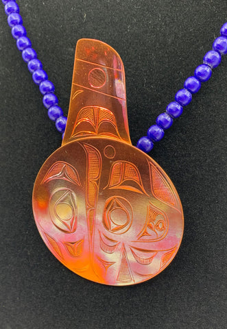 Pendant- J. Galanin, Copper, Killer Whale, Trade Beads