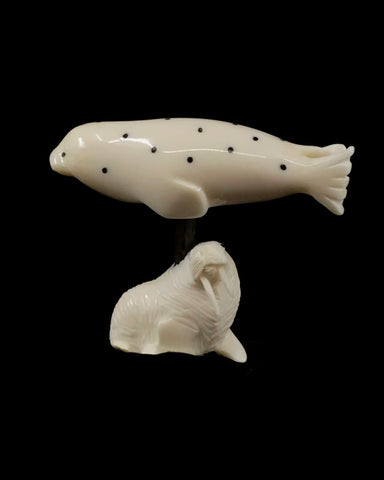Ivory- JK, Baleen, Spotted Seal on Carved Walrus