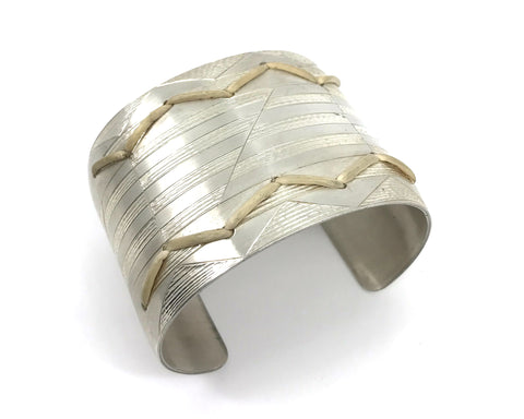 Bracelet- J. Younger, Silver & Spruce Root, Bear Tracks in The Salmonberries, 2""