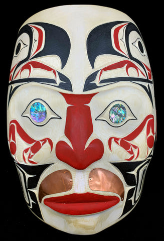 "Mask-K. Horne, Yellow Cedar with Abalone and Copper, Eagle, 10.5""x14"""