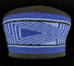 Hat (C)- K. Parker: Woven Merino Wool, Blue & Black Patterns, Merino Wool