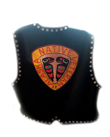 "Vest (C)- M. Guthrie: ""AK Native Vets"" Beaded Front & Back, Button Trim"