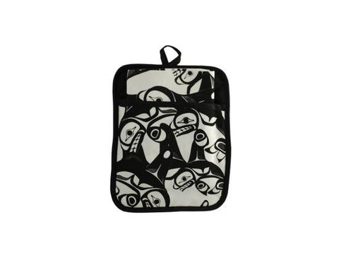 Pot Holder w Pocket & Tea Towel - Panabo, Many Whales By Bill Helin