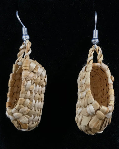 Earrings- N. Carle, Cedar Woven, Mini Moccasins