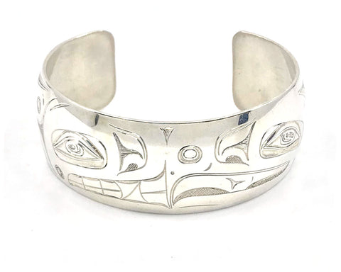 Bracelet- N. Galanin: Silver, Eagle Bear, Face to Face, 1""