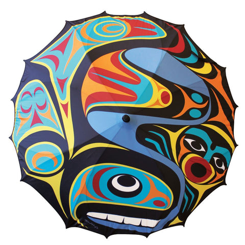 "Umbrella -M. Johnny,  Steel Fiberglass & Nylon, Whale, 46"" diameter"