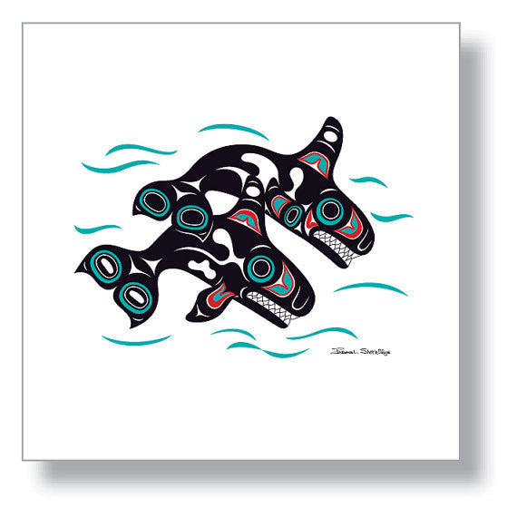 """Orcas"" Art Print by Israel Shotridge"