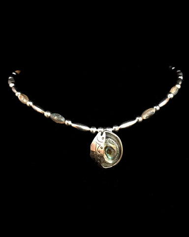 Necklace- P. Esquiro, Salmon, Silver Teardrop, Abalone, & Beads