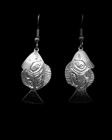 Earrings- R. Booth, Silver, Halibut, 2 sizes