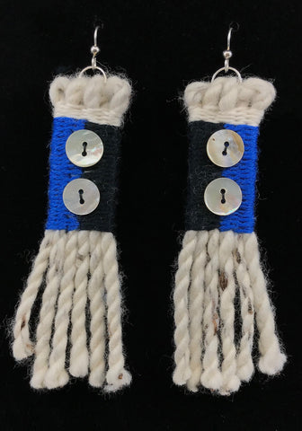 Earrings- R. Tagaban: Woven w Fringe; Black & Blue 2 Abalone Buttons