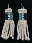 Earrings- R. Tagaban: Woven w Fringe; Green & Black with mini Abalone buttons