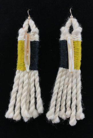 Earrings- R. Tagaban: Woven w Fringe; Yellow & Black with Shell