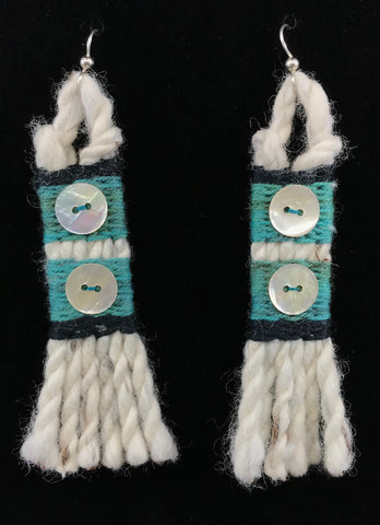 Earrings- R. Tagaban: Woven w Fringe; Green with 2 Abalone Buttons