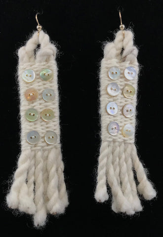 Earrings- R. Tagaban: Woven w Fringe; Ivory with 8 mini Abalone Buttons