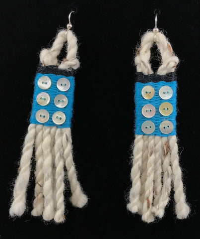 Earrings- R. Tagaban: Woven w Fringe; Ocean Blue with 6 mini Abalone buttons