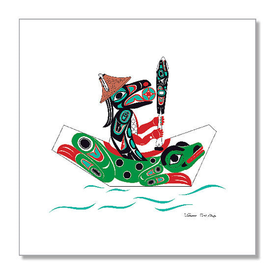 """Raven & Frog Canoe"" Art Print by Israel Shotridge"