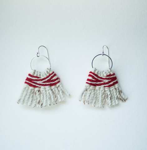 Earrings- Lily Hope: (C) Wool, Returning Salmon, Hoops