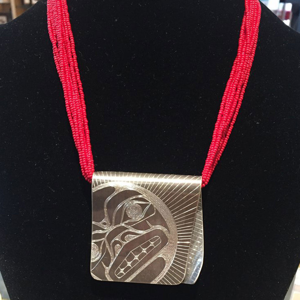 Silver Sun Wrap Pendant with Red Beads By Jennifer Younger