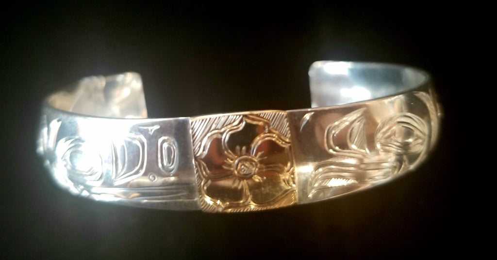 "Bracelet- S Sheakley: 1/2"" Textured Silver, Lovebirds w Salmonberry, Gold Inlay"