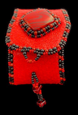 Bracelet- T. Kelliher: Fish Skin, Red, Bead