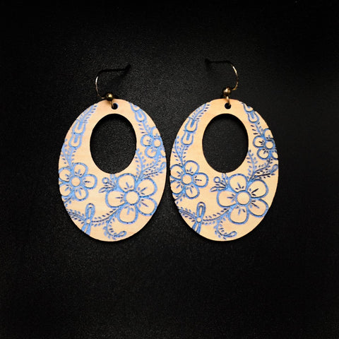 Earrings- Trickster Co., Handpainted Alder, Flower Oval Light Blue