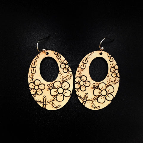 Earrings- Trickster Co, Laser Cut Flower Oval, Natural