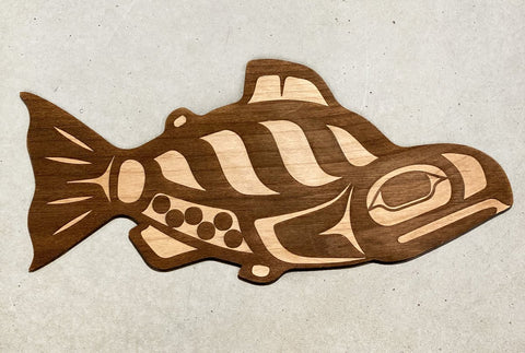 Plaque- Trickster Co., Alder Wood, Salmon with magnets