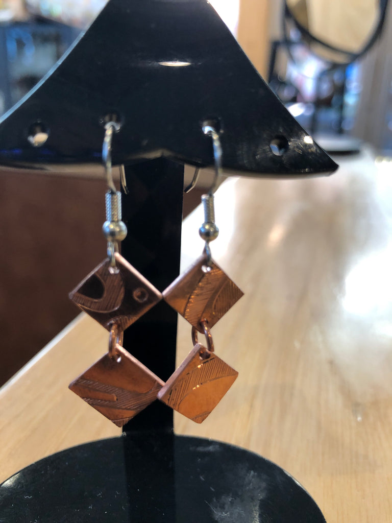 Earrings - B Schleifman: Copper, Abstract Double Hanging Squares